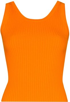 ribbed knit tank top - ORANGE
