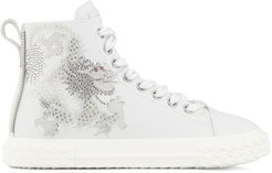 crystal-embellished high-top sneakers - White