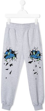 TEEN monster claw embroidered track pants - Grey