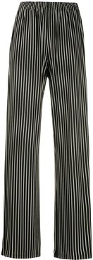 striped wide-leg trousers - Black