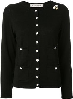 slim-fit flower-buttons cardigan - Black