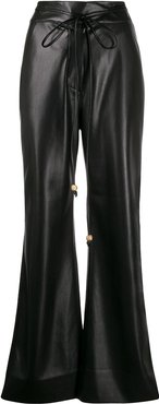 high-waisted faux-leather trousers - Black