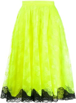 neon lace midi skirt - Yellow