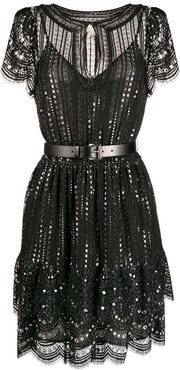 embroidered lace dress - Black