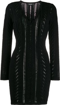 lace-up detail knitted dress - Black