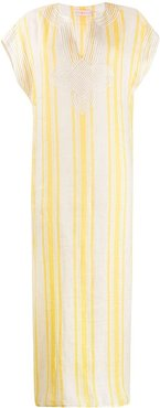 short sleeve striped kaftan dress - Yellow