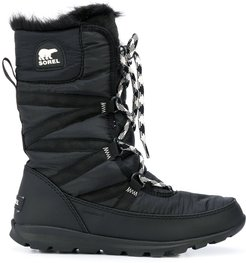 lace-up lined boots - Black