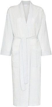 tie-waist mid-length robe - White