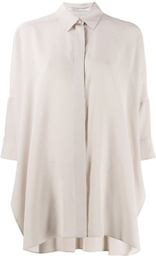 relaxed 3/4 sleeve blouse - Neutrals