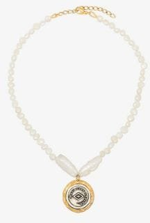 18K gold-plated Demi pearl coin pendant necklace