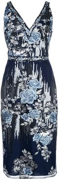sequin embroidered fitted dress - Blue