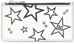 star print card holder - White
