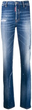 distressed bootcut jeans - Blue