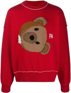 teddy logo knitted sweater - Red