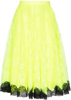 contrast-hem midi skirt - Yellow