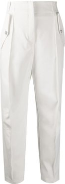 high waisted tapered trousers - White
