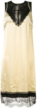 panelled satin slip dress - Neutrals