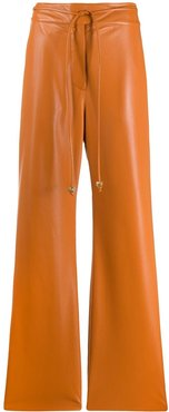 Chimo vegan leather belted trousers - ORANGE