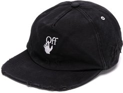 distressed embroidered cap - Black