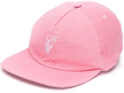 distressed-effect embroidered-logo baseball cap - PINK