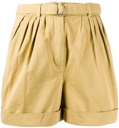high-waisted belted shorts - Yellow