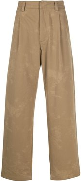 washed-effect twill trousers - Neutrals