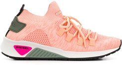 sock-style lace-up sneakers - PINK