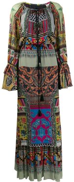pleated patterned maxi dress - Green