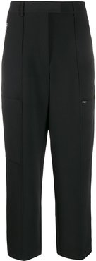 cropped straight-leg trousers - Black