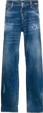 stonewashed-effect loose-fit jeans - Blue