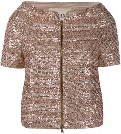 sequin-embroidered puffer jacket - GOLD