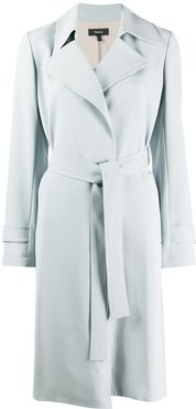 long sleeve belted trench coat - Blue
