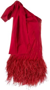 feather embellished dress - Red
