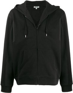mesh-panel hooded sweatshirt - Black