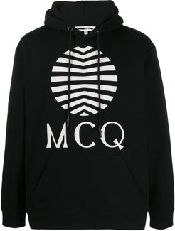 logo-print hooded sweatshirt - Black