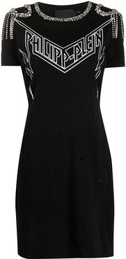 embellished thunderbolt T-Shirt dress - Black