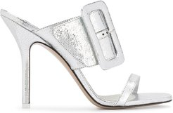 metallized buckled mules - SILVER
