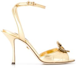 Devotion embellished open-toe sandals - GOLD