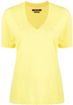 Maree V-neck cotton T-shirt - Yellow