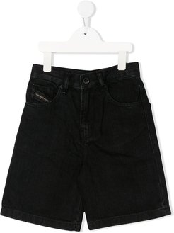 knee-length denim shorts - Black