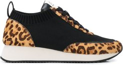 leopard print low top sneakers - Black