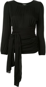waist-tied fitted top - Black