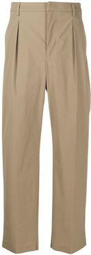 darted straight-leg trousers - Neutrals