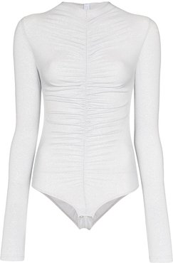 Maria ruched bodysuit - SILVER