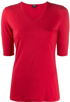 v-neck fitted T-shirt - Red
