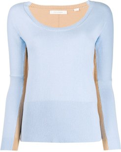 two-tone knitted top - Blue