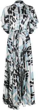 high-neck graphic-print maxi dress - Blue