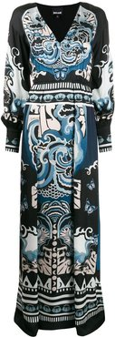 ornate-print V-neck maxi dress - Black