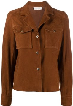 suede boxy fit jacket - Brown