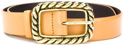 twisted-effect buckle belt - Brown